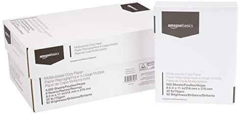 AmazonBasics Multipurpose Copy Printer Paper - White, 8.5 x 11 Inches, 8 Ream Case (4,000 Sheets)