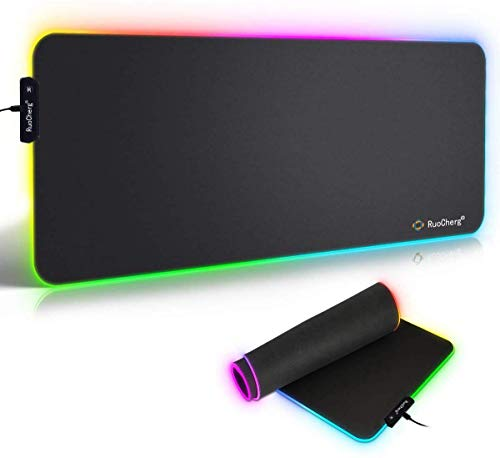 Tappetino Mouse Gaming, RGB Grande Mouse Pad 10 Effetti Luce XXL 780x400mm Superficie Liscio, Base...