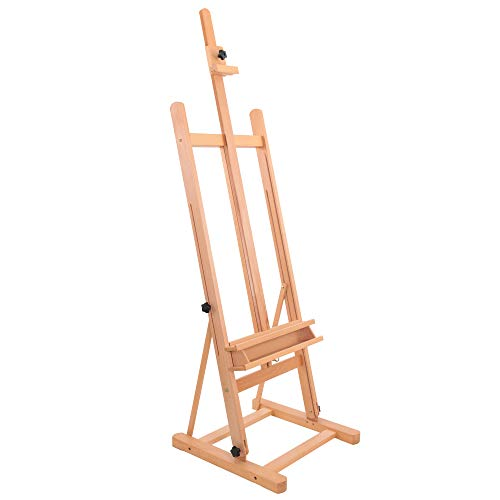 """US Art Supply Medium 67 1/2 inch High, (Adjusts to 93-1/2""""High), Studio H-Frame Artist Easel, Accommodates canvas art up to 48"""" high"""
