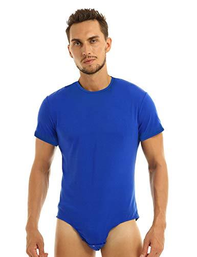 Agoky Herren Body Männer Einteiler Unterwäsche Kurzarm Unterhemd Rundhals T-Shirt Einfarbig Baumwolle Tops und Ouvert Slip mit Knöpfe im Schritt Blau Large