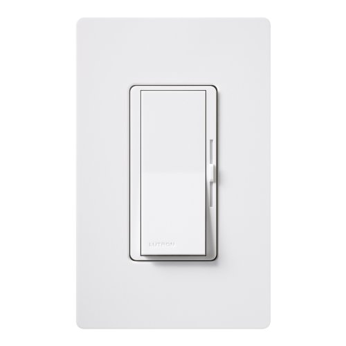 Lutron Diva LED+ Dimmer for Dimmable LED, Halogen and Incandescent Bulbs with Wallplate   Single-Pole or 3-Way   DVWCL-153PH-WH   White
