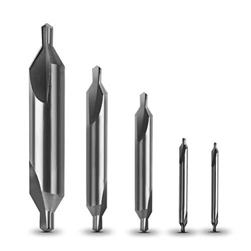 Yotino 5Pcs Brocas De Centrado Avellanador De Centro Broca De Acero De Alta Velocidad 1/1.5/2.5/3.15/5Mm Avellanador Broca De Herramientas Para Hierro, Metal Fino Perforado