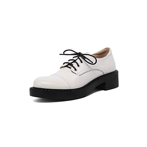 ANNIESHOE Blucher Mujer Cuero Cordones Oxford Tacon Plataforma Zapatos Primavera Otoño Beige 40CN 39EU 25cm