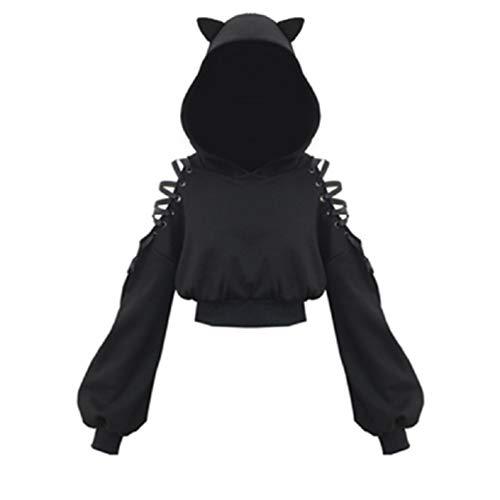 Felpa da donna con orecchie di gatto nero con cappuccio a maniche lunghe Nero S