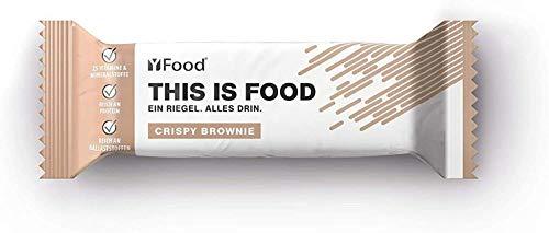 YFood Riegel Crispy Brownie   Glutenfreier Nahrungsersatz   Proteinriegel   23g Protein, 25 Vitamine und Mineralstoffe   Leckerer Energieriegel   Mahlzeitersatz, 12 x 75g