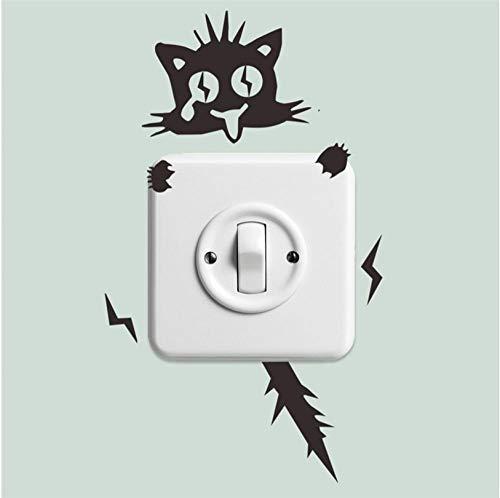 Etiqueta De La Pared Cute Funny Electric Shock Cat Switch Stickers Decoración Del Hogar Tatuajes De Pared Mural Art Posters Vinilo Diy Wall Stickerss 11 * 21Cm