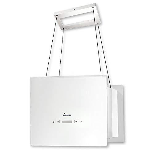 KKT KOLBE Cappa aspirante ad isola / 40 cm/acciaio inox/vetro bianco/extra silenzioso / 4 gradini/illuminazione a LED/tasti sensore TouchSelect/montaggio cavi / BOX400W