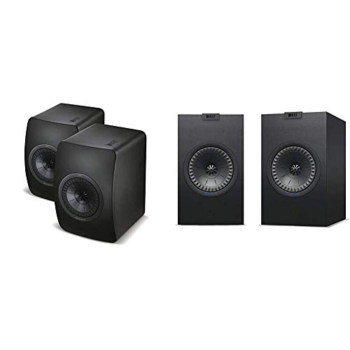 KEF LS50 Mini Monitor - Black Edition (Pair) Bundle with KEF Q150B Q150 Bookshelf Speakers (Pair, Black)