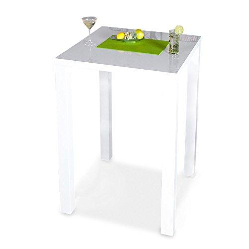 levandeo Bar-Tisch Tresen Küchentisch Weiß Hochglanz Stehtisch Bartresen Esstisch Ablage Küche 105x80x80cm
