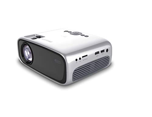 Philips NeoPix Easy+ (NPX445) Mini and Transportable Projector, 1080p, 2,600 Led Lumens, 80 Inch Display, WiFi Screen Mirroring, Bluetooth, Built-in Media Player, HDMI, USB, microSD, 3.5mm Audio Out
