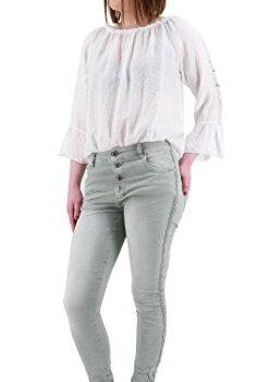 Lexxury Damen Stretch Baggy Jeans seitliche Streifen Nieten