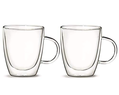 Aqualogis termici a doppia parete isolante in vetro–tè e caffè 300ml, set di 2