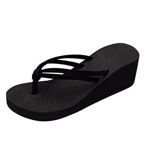 DZQQ Zapatillas de Mujer Color sólido Antideslizante Pies Chanclas Tacón Alto Cuñas Sandalias de Playa Zapatos Mujer