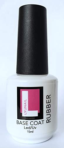 LYUNAIL Professional RUBBER BASE Gel nail polish coat, large volume 15ml (0,5 fl oz), Base and No Wipe Top coat Soak Off UV LED for a long-lasting manicure, grow Stronger, nail Strengthener