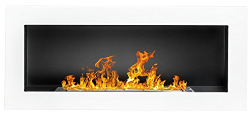 Bio Ethanol Fire BioFire Fireplace Modern 900 x 400 White