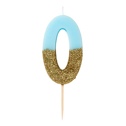 Talking Tables Number 0 Birthday Candle Cake Topper, Height 8cm, 3', Blue
