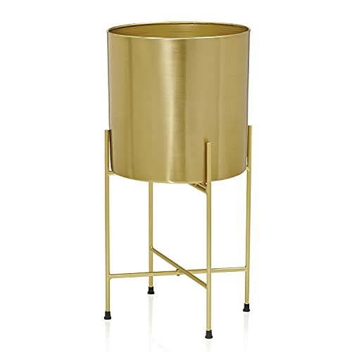 Kimisty 10 Inch Large Brass Gold Planter with Stand, Modern Planter Pot with Metal Stand, Flower Pot Living Room Decor for Large Plants and Tree, 22 Inch Tall