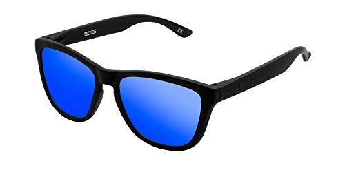 HAWKERS Gafas de Sol ONE Carbon Black, para Hombre y Mujer, con Montura Negra Mate y Lente Azul Efecto Espejo, Protección UV400
