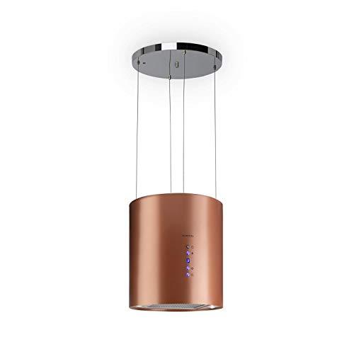 Klarstein Barett - Cappa Aspirante ad Isola, 35 cm, 190 Watt, Potenza Aspirante Fino a 560 m/h, 3 Livelli di Potenza, Illuminazione LED, Acciaio Inox, Rame