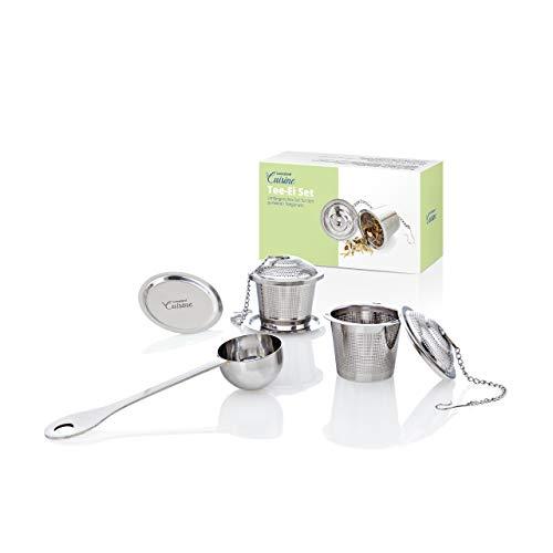 Lumaland Cuisine Tee-Ei Set je 2 Siebe & Schälchen 1 Löffel aus rostfreiem Edelstahl für alle Becher, Tassen und Kannen