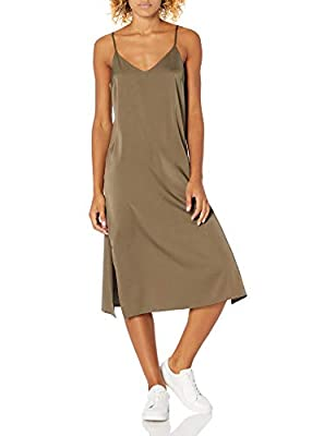 """Staples by The Drop Models are 5'10""""/178 cm and wearing a size S and XXL A lightweight silky lingerie-inspired style with a hint of stretch and a body-skimming fit. Dress it up or wear with sneakers for a versatile look. Side slits and adjustable str..."""