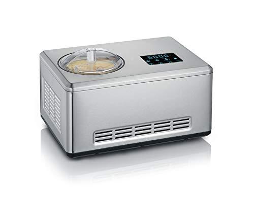 Severin 2-in-1 Eismaschine mit Joghurtfunktion, Inkl. Eisbehälter (2L) und Rezeptbuch, Digitaler Timer, Deckelöffnung, EZ 7405