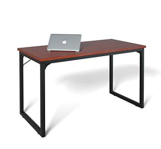 Computer Desk 55', Modern Simple Style Desk for Home Office, Sturdy Writing Desk, Coleshome, Teak