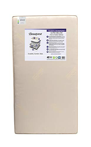 Beautyrest Beginnings Sleepy Whispers Ultra Deluxe 2-in-1 Innerspring Crib and Toddler Mattress | Waterproof | GREENGUARD Gold Certified (Natural/Non-Toxic)