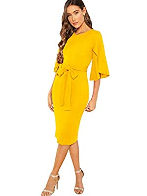 Notice: as the dress may run a bit small, a larger size is recommended. Material: 95% Polyester, 5% Spandex. Fabric is stretchy and comfy. Features: Round neck, flutter sleeve/ruffle sleeve, 3/4 sleeve, self tie, midi length, bodycon pencil dress Occ...
