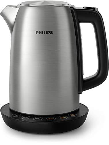 Philips Hervidora Avance Collection HD9359/90 - Hervidora con control de temperatura, metal, 1,7 litros, y tapa con resorte