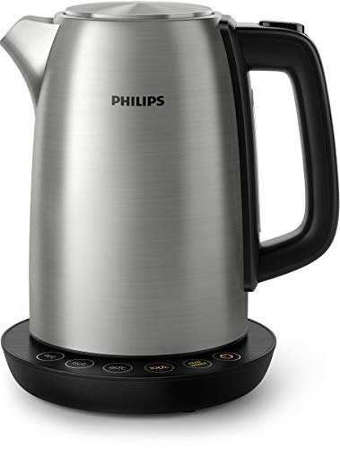 Philips Bollitore Elettrico HD9359/90 Acciaio Inox, Programmi Pre-Impostati, Mantenimento della Temperatura, Capacit 1.7 l, Luci LED