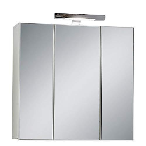 FMD Möbel 925-003 Zamora 3 Spiegelschrank melaminharzbeschichtete Dekorspanplatte Weiß ca. 70,0 x 69,0 x 19,0 cm