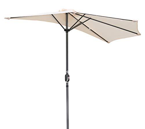 Angel Living 270cm Halbrund Sonnenschirm, Marktschirm,Terrassenschirm mit Kurbel für Garten,Terrassen, Höfe,Schwimmbäder,mit UV-Schutz 40+ Creme
