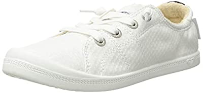 Textile upper with elasticisized top line with embroidered or printed heel detail Roxy flag label Knotted cotton laces Memory foam padded canvas insole with graphic print Terry cloth lining Flexible TPR injected outsole with molded arch detail