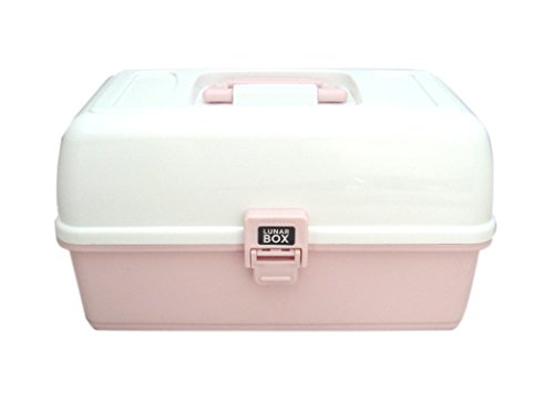Lunar Box Caja de 3 bandejas, Manualidades y Costura, Compartimentos Ajustables, Color Rosa, 3 Tray