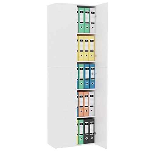 Qnotici Armadio per Ufficio Armadio classificatore scaffale Multiuso Armadio classificatore mobili per Ufficio libreria Bianco 60 32 190 cm truciolare