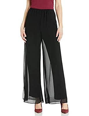 Georgette overlay pant Stretch lining Side slit detail Center back zip