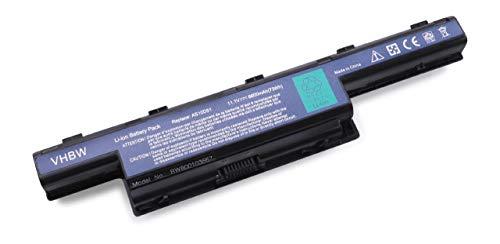 vhbw Li-Ion batería 6600mAh (11.1V) para Notebook Packard Bell EasyNote TS13-HR, TS44-SB, TS44-SM, TS44hr y AS10D31, 31CR19/652, BT.00603.11.