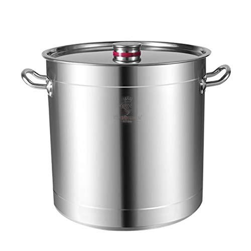 Pentole fumanti Pentola a scorta in acciaio inox, Pentola di zuppa addensata/per uso domestico, Pentola di cottura con coperchio, per stufa a gas/Fornello a induzione (15-80L) Recipiente di cottur