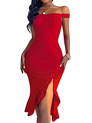 Fabric has slight stretch, please choose one size bigger if you prefer loose fitting Off the shoulder, sleeveless, ruffle split hem, slit dress, bodycon midi dress Incredible quality and design makes the dress equally suitable for cocktail party,club...