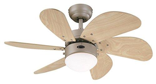 78158 Turbo Swirl One-Light 76 cm ventilatore a soffitto per interni a sei pale, finitura in titanio con vetro opalino effetto ghiaccio