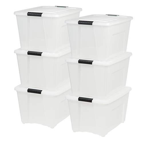 IRIS USA, Inc TB-56D 53 Quart Stack & Pull Box, Multi-purpose Storage Bin, 6 Pack, Pearl