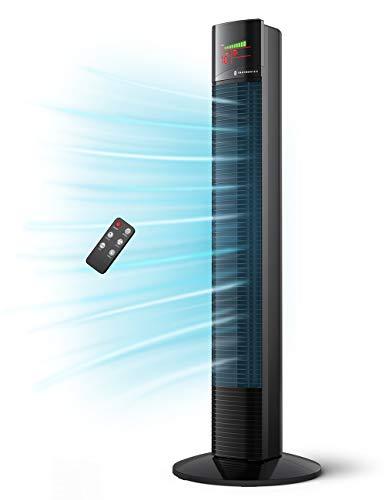 TaoTronics Turmventilator mit Fernbedienung 65°Oszillation 90CM 60W Negativ-Ionen-Modus Säulenventilator Tower Fan leise 3 Geschwindigkeiten LED-Display 12H-Timer für Schlafzimmer Wohnzimmer Büro