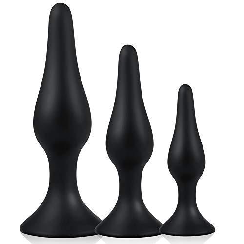 UTIMI Silikon Analplugs Set Buttplugs Anal SexSpielzeug Analkugeln mit aufsaugen für Masturbation Training Analstöpsel für Frauen Männer Anfänger Paare 3 Stück