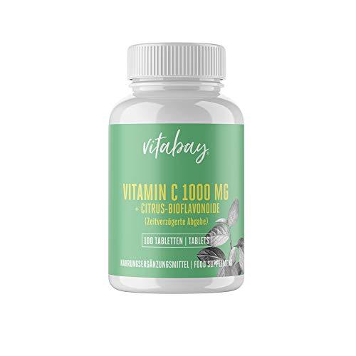 Vitabay Vitamine C 1000 mg + Bioflavonoïdes Temps de Libération Comprimés Végétaliens (100 Comprimés Végétaliens)