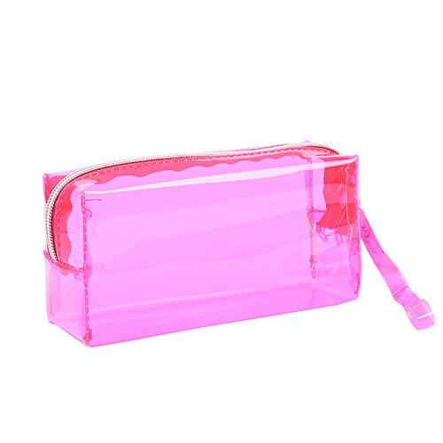 HeiHy - Astuccio trasparente per matite e penne, grande capacit, per ragazzi e ragazze Hot Pink