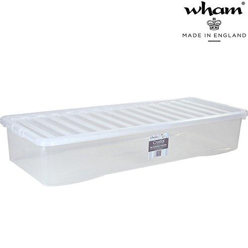 Unterbettbox mit Deckel transparent 55 Liter Stapelbar Aufbewahrungs Box Unterbett Kiste Multifunktions Box Unterbettkommode lange Kommode flach Kunststoff Plastikbox Organizer