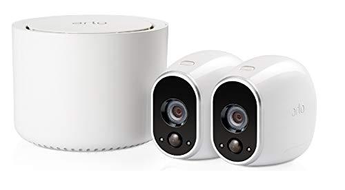 Sistema de videovigilancia Wi-Fi Arlo VMS3230 con 2 cámaras de seguridad inalámbricas que funcionan con baterías, HD, visión nocturna, interior / exterior, aplicación para Android e iOS, funciona con Alexa y Google Wi-Fi