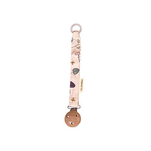 Filibabba® Schnullerkette aus Bio Baumwolle und Holz | Nickel-freie Metalclips | Silikonring zum Befestigen | Dänisches Design (Forest Floor Rose)