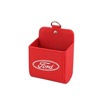YEEXCD Car Storage Air Outlet Organizer Box,Leather Container Pouch Bag Multifunction Bag wiht ford logo 10.5x9.5x5.5cm,Red